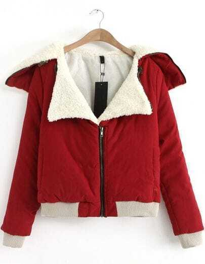 Red Lapel Long Sleeve Loose Parka