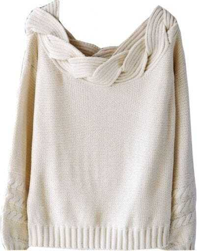 Beige Puff Sleeve Boat Cable Knit Neck Sweater