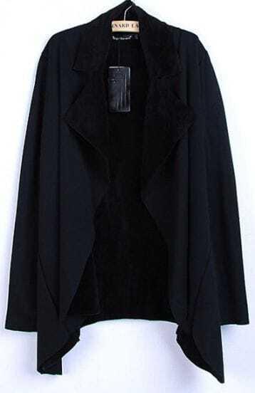 Black Long Sleeve Lapel Asymmetrical Coat