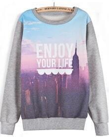 Grey Long Sleeve Building Letters Print Sweatshirt