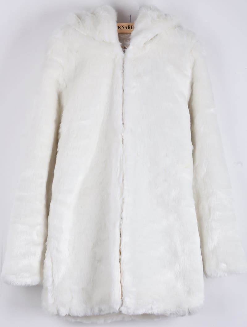 White Hooded Long Sleeve Faux Fur Coat -SheIn(Sheinside)