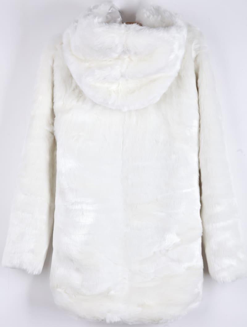 White Hooded Long Sleeve Faux Fur Coat -SheIn(Sheinside)