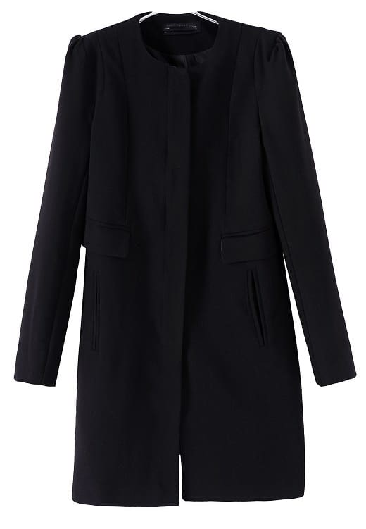 Black Long Sleeve Zipper Pockets Coat -SheIn(Sheinside)