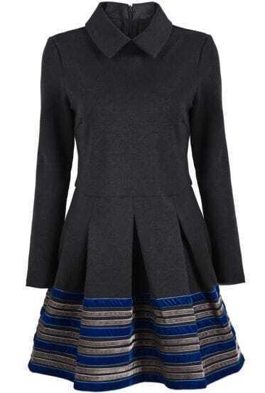 Dark Grey Lapel Long Sleeve Contrast Striped Dress