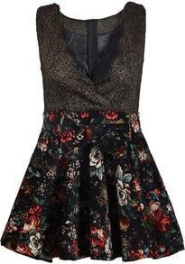 Black V Neck Sleeveless Contrast Floral Dress