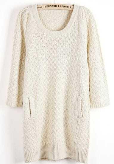 Apricot Long Sleeve Zigzag Knit Sweater