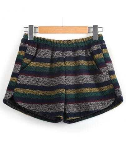 Blue Elastic Waist Striped Woolen Shorts