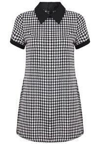 Black Lapel Short Sleeve Houndstooth Dress