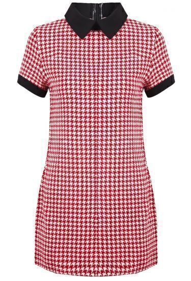 Red Lapel Short Sleeve Houndstooth Dress