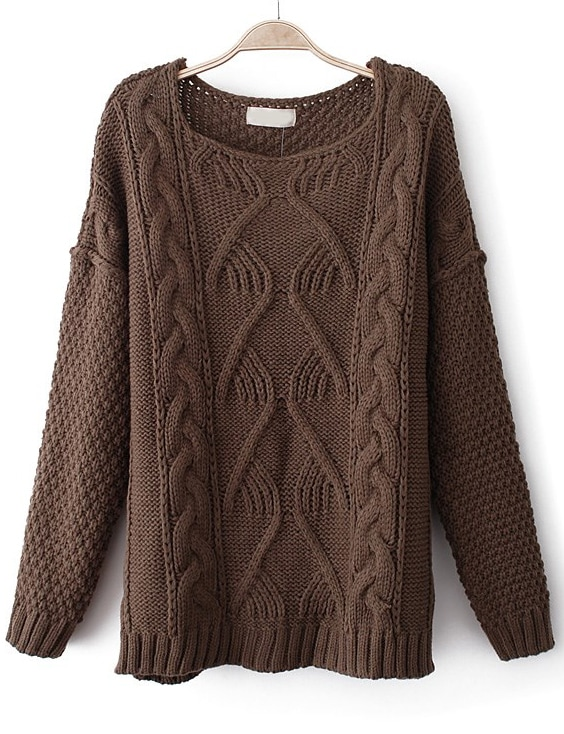 Brown Long Sleeve Chunky Cable Knit Sweater -SheIn(Sheinside)