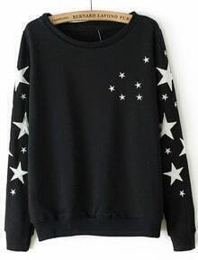 Black Long Sleeve Stars Embroidered Sweatshirt