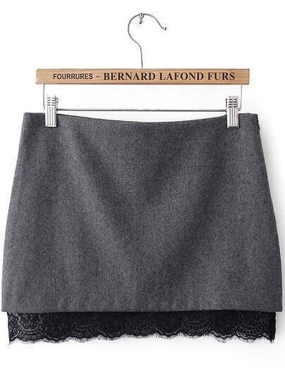 Grey Contrast Lace Bodycon Skirt