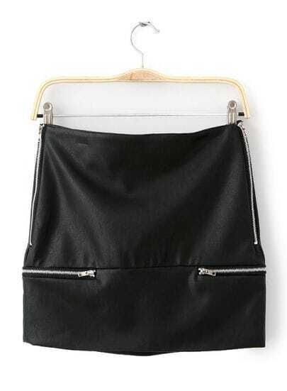 Black Bodycon Zipper PU Skirt