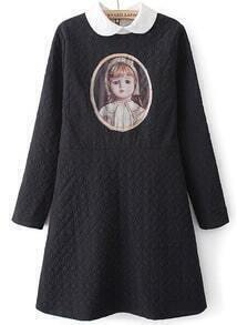 Black Long Sleeve Vintage Girl Print Dress