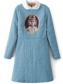Blue Long Sleeve Vintage Girl Print Dress