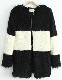 Black Contrast White Striped Faux Fur Coat