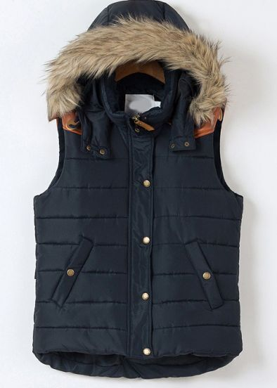 Blue Faux Fur Hooded Sleeveless Vest