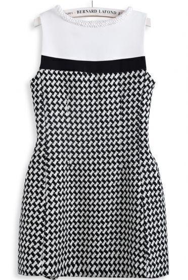 Black White Houndstooth Sleeveless Back Zipper Dress