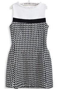 Black White Houndstooth Sleeveless Back Zipper Dress