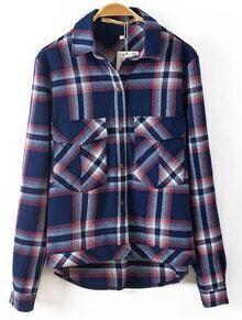 Blue Lapel Long Sleeve Plaid Pockets Jacket