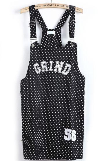 Black Strap Polka Dot GRIND Print Dress
