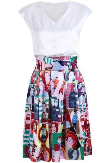 White V Neck Sleeveless Top With Portrait Print Pleated Skirt