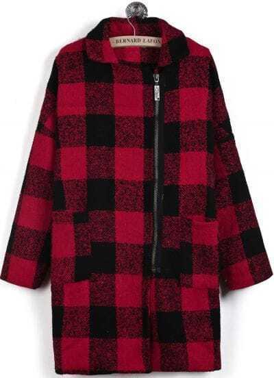 Abrigo de lana cuadros cremallea manga larga-Rojo y negro
