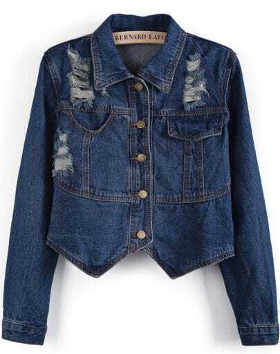 Blue Lapel Long Sleeve Ripped Denim Jacket
