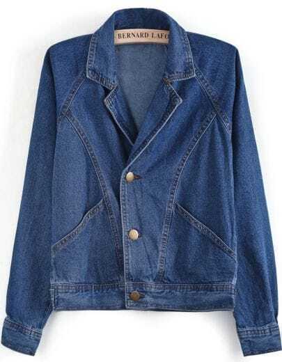 Blue Notch Lapel Long Sleeve Denim Jacket