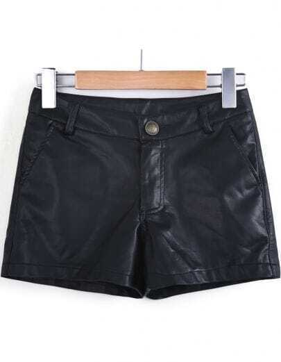 Black Slim PU Leather Shorts