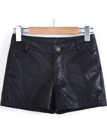 Black Slim PU Leather Shorts