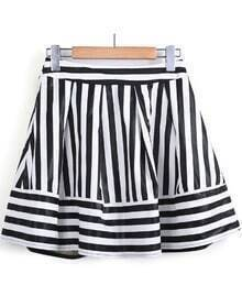 Black White Striped Ruffle PU Leather Skirt