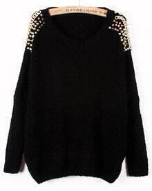 Black Batwing Sleeve Rivet Shoulders Loose Sweater