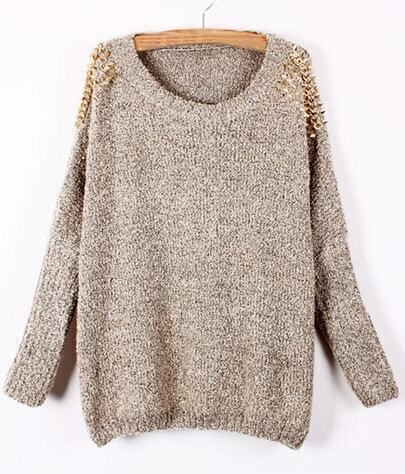 Apricot Batwing Sleeve Rivet Studs Shoulders Loose Sweater