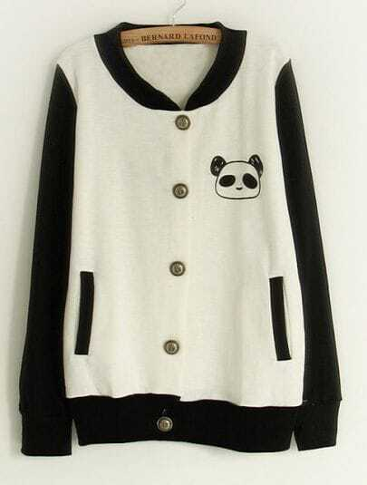 White Contrast Black Sleeve Panda Pocket Jacket