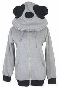 Grey Long Sleeve Panda Hooded Pocket Zip Jacket