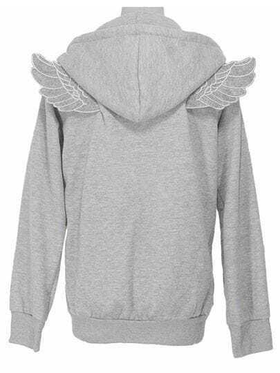 Grey Long Sleeve Angle Wings Pocket Zip Jacket
