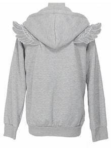 Grey Long Sleeve Angle Wings Pocket Zip Jacket
