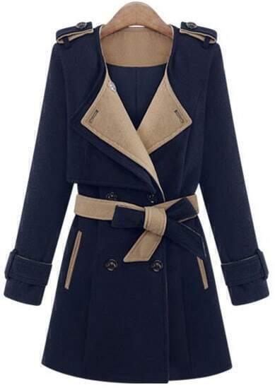 Blue Long Sleeve Epaulet Belt Trench Coat