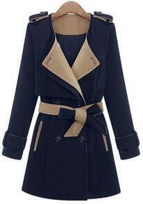 Blue Long Sleeve Epaulet Belt Trench Coat