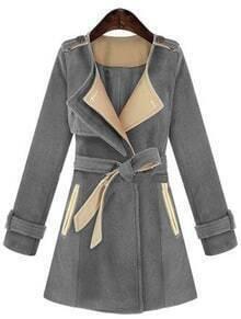 Grey Long Sleeve Epaulet Belt Trench Coat