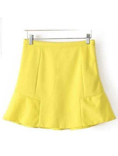 Yellow Fashion Ruffle Chiffon Skirt