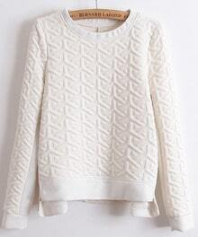White Long Sleeve Embossment Zip Sweatshirt