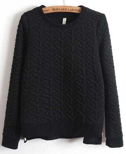Black Long Sleeve Embossment Zip Sweatshirt