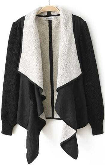 Black Long Sleeve Asymmetrical Fur Coat