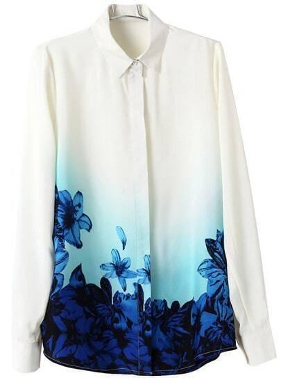 White Lapel Long Sleeve Floral Chiffon Blouse