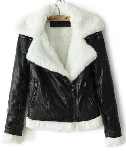 Black Rabbit Fur Lapel Long Sleeve Crop Coat
