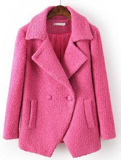 Red Lapel Long Sleeve Pockets Woolen Coat