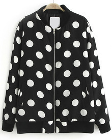 Black Stand Collar Long Sleeve Polka Dot Jacket