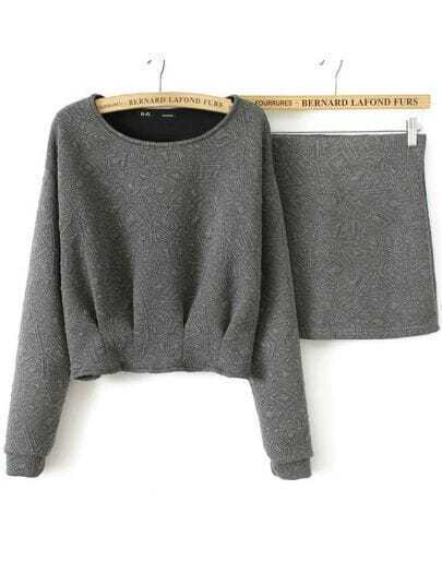 Grey Long Sleeve Geometric Pattern Top With Skirt